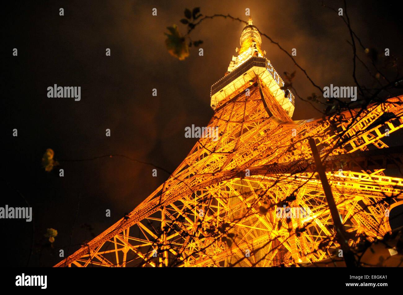 Giappone, Kita-Katsushika, Minato, Torre di Tokyo che brilla sulla notte piovosa Immagini Stock