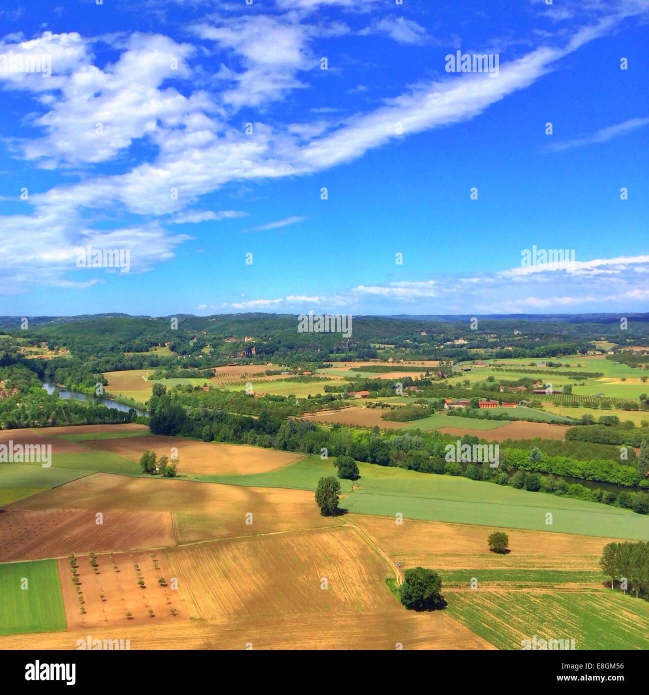 Vista aerea del paesaggio rurale, Lot, Francia Immagini Stock