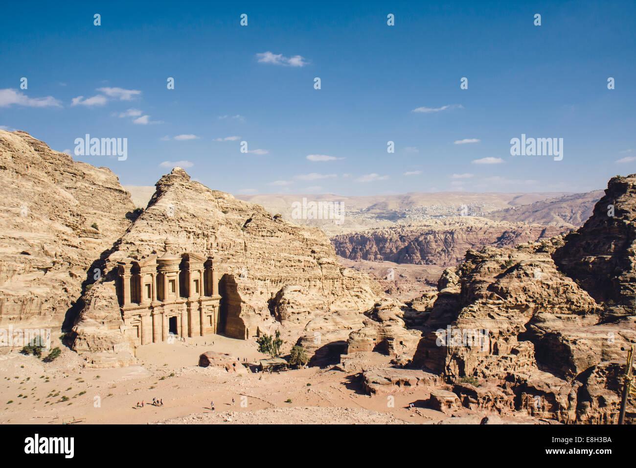 Giordania Petra, annuncio Deir Monastero Immagini Stock