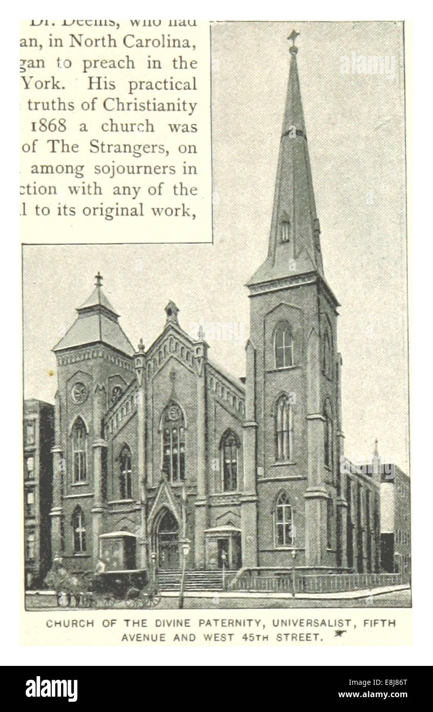 (Re1893NYC) PG393 chiesa della paternità divina, universalista, Fifth Avenue e WEST 45TH STREET Immagini Stock