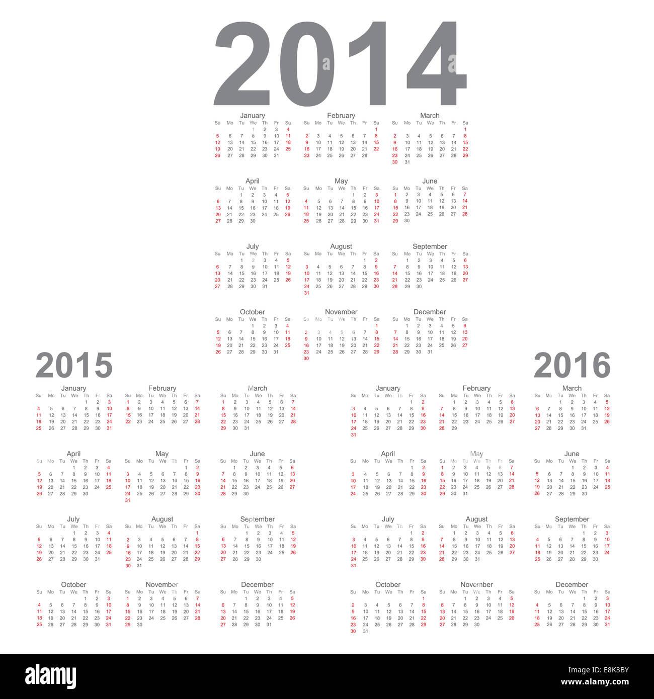 Calendario Anno 2014.Semplice Anno Di Calendario 2014 2015 2016 Vettore Foto