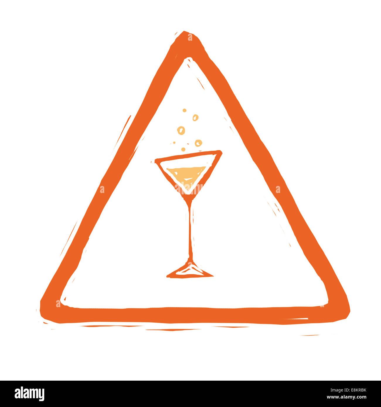 Il pittogramma che illustra i pericoli di alcool. Immagini Stock
