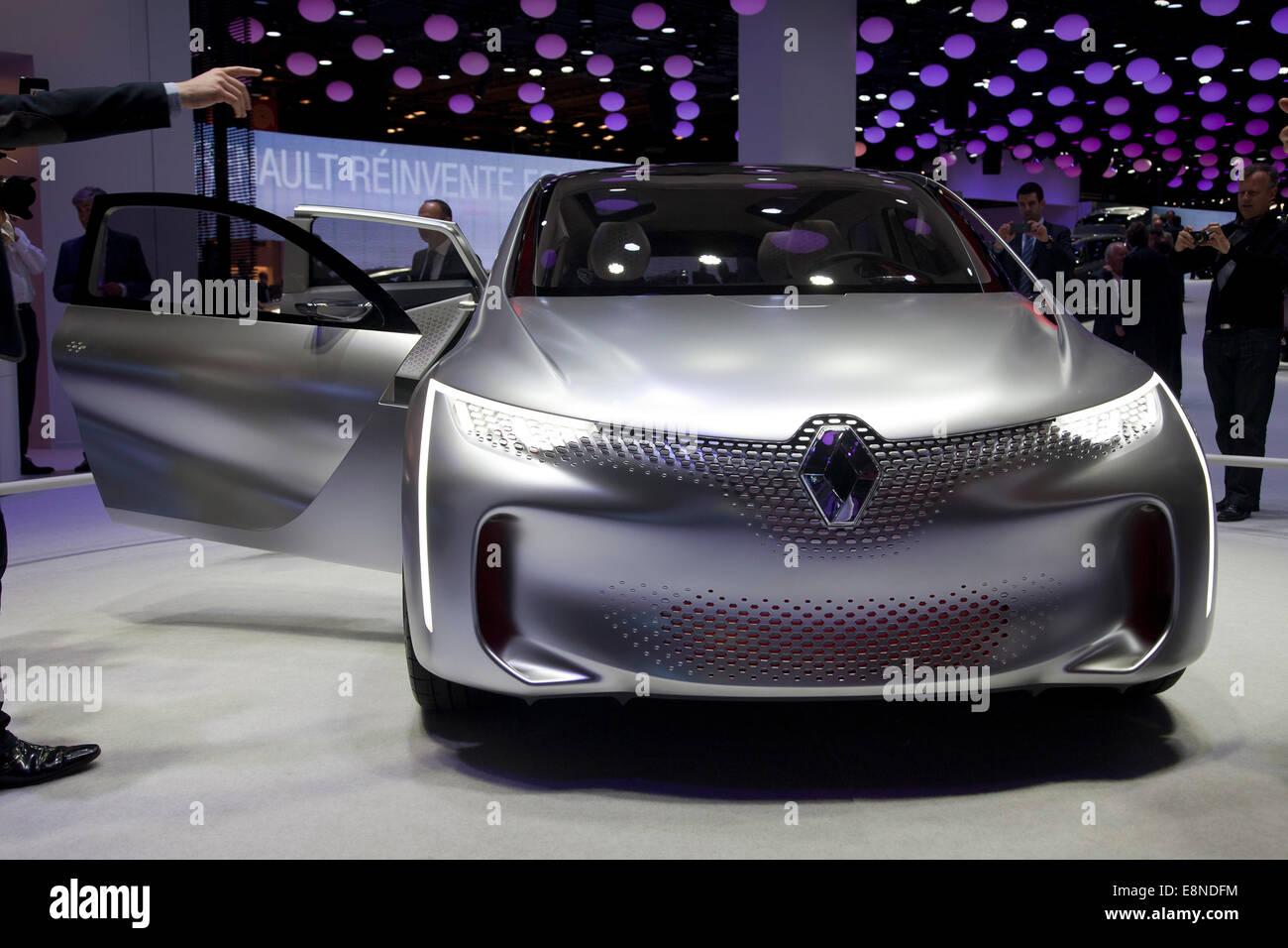 La Renault Eolab plug-in auto elettriche Motor Show di Parigi Mondial de l'Automobile 2014 Immagini Stock