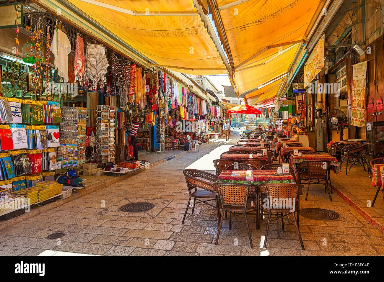 Bazaar nella Città Vecchia di Gerusalemme, Israele. Foto Stock