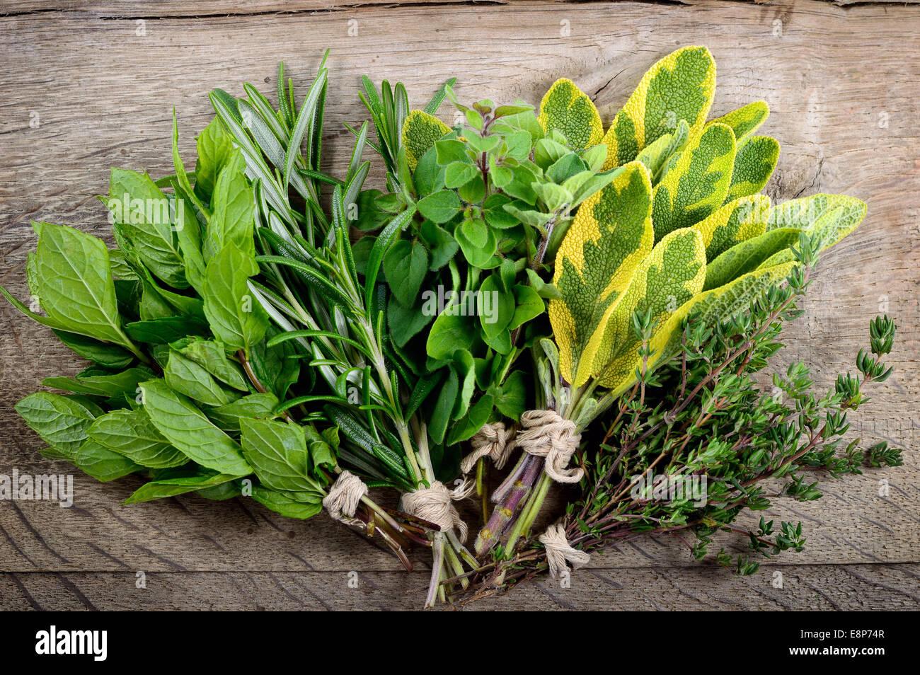 Appena raccolto erbe, mazzetto di erbe aromatiche fresche su sfondo di legno. Immagini Stock