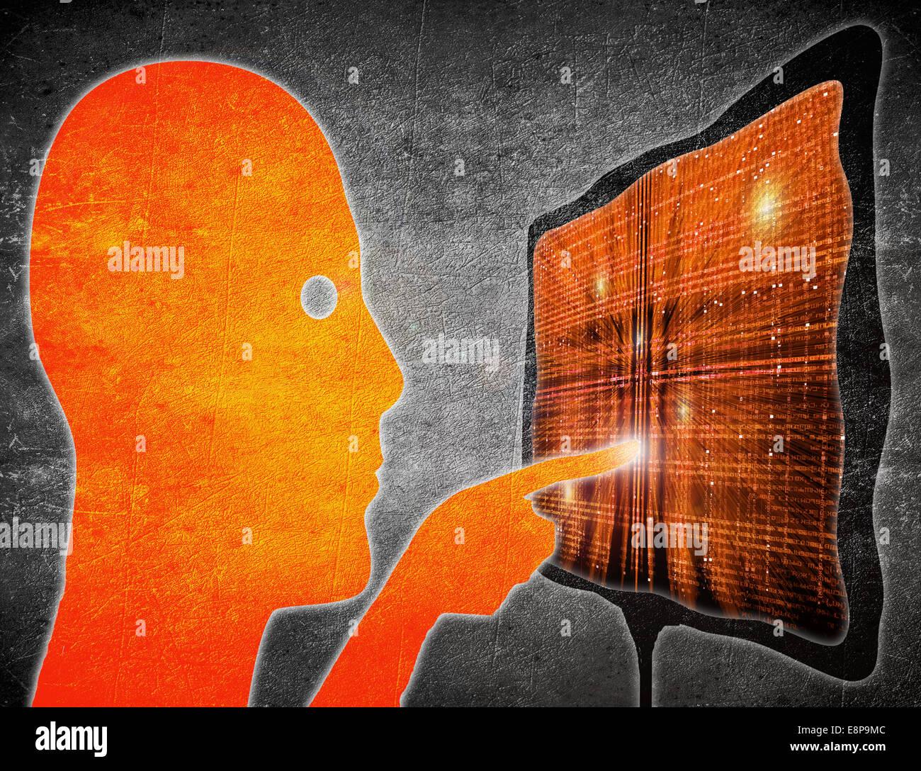 Uomo di toccare il touchscreen di arancione e nero illustrazione digitale Immagini Stock