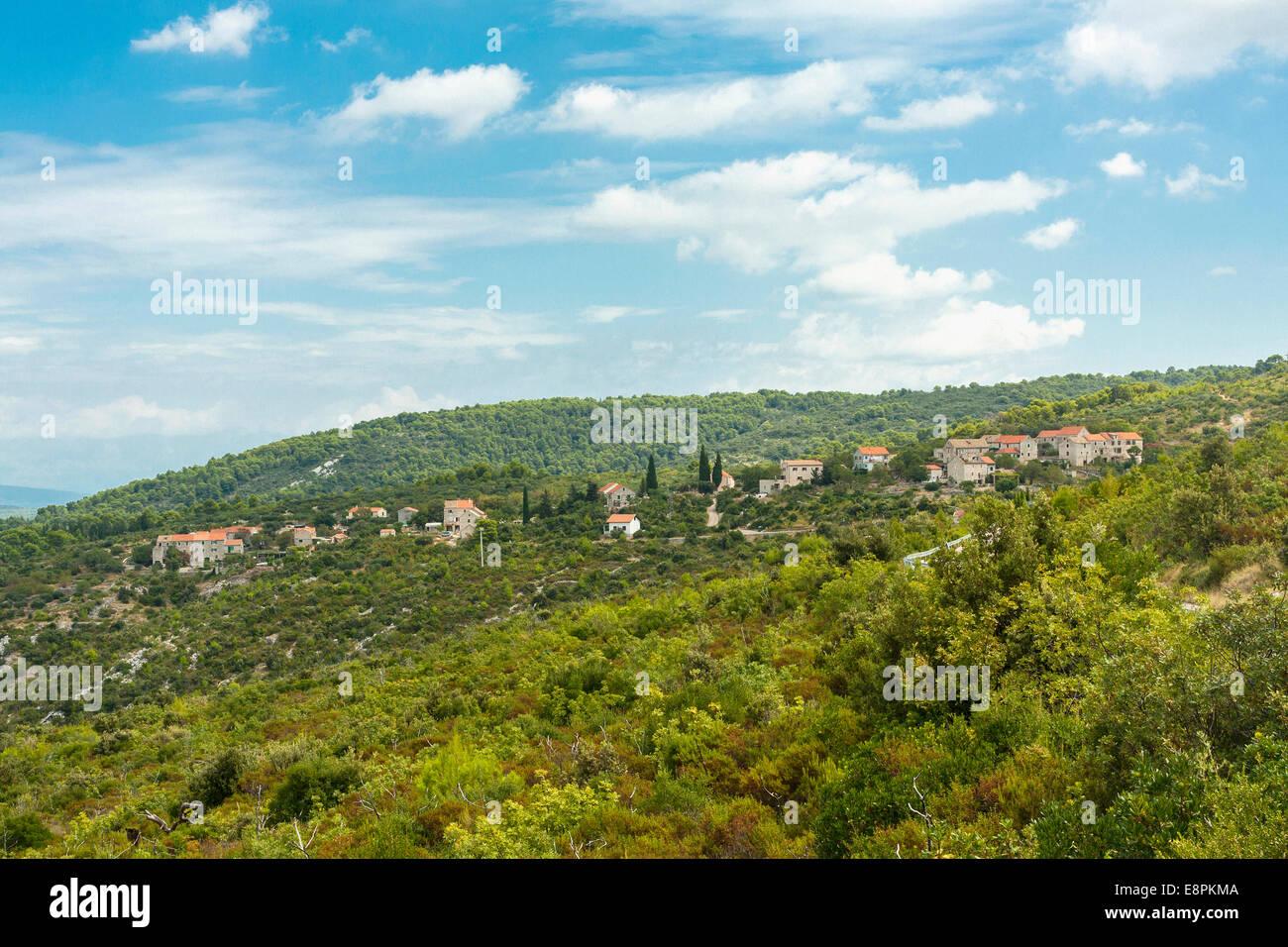 Velo Grablje village, isola di Hvar, Croazia Immagini Stock