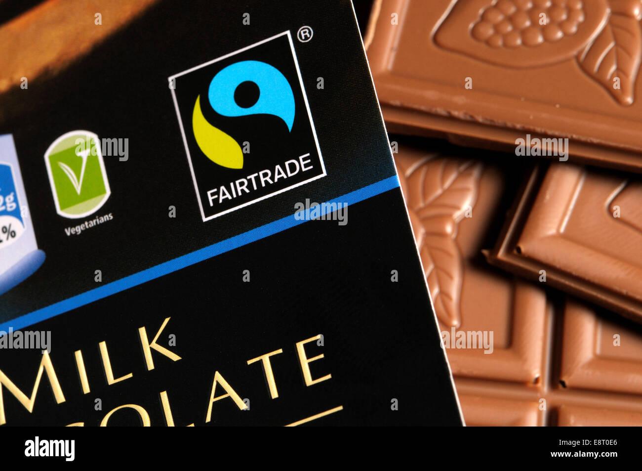 Fairtrade cioccolato al latte Immagini Stock