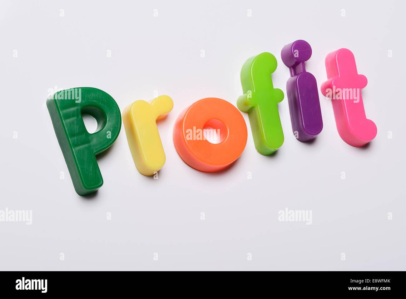 Il profitto realizzato dal frigo magnetico lettere Immagini Stock