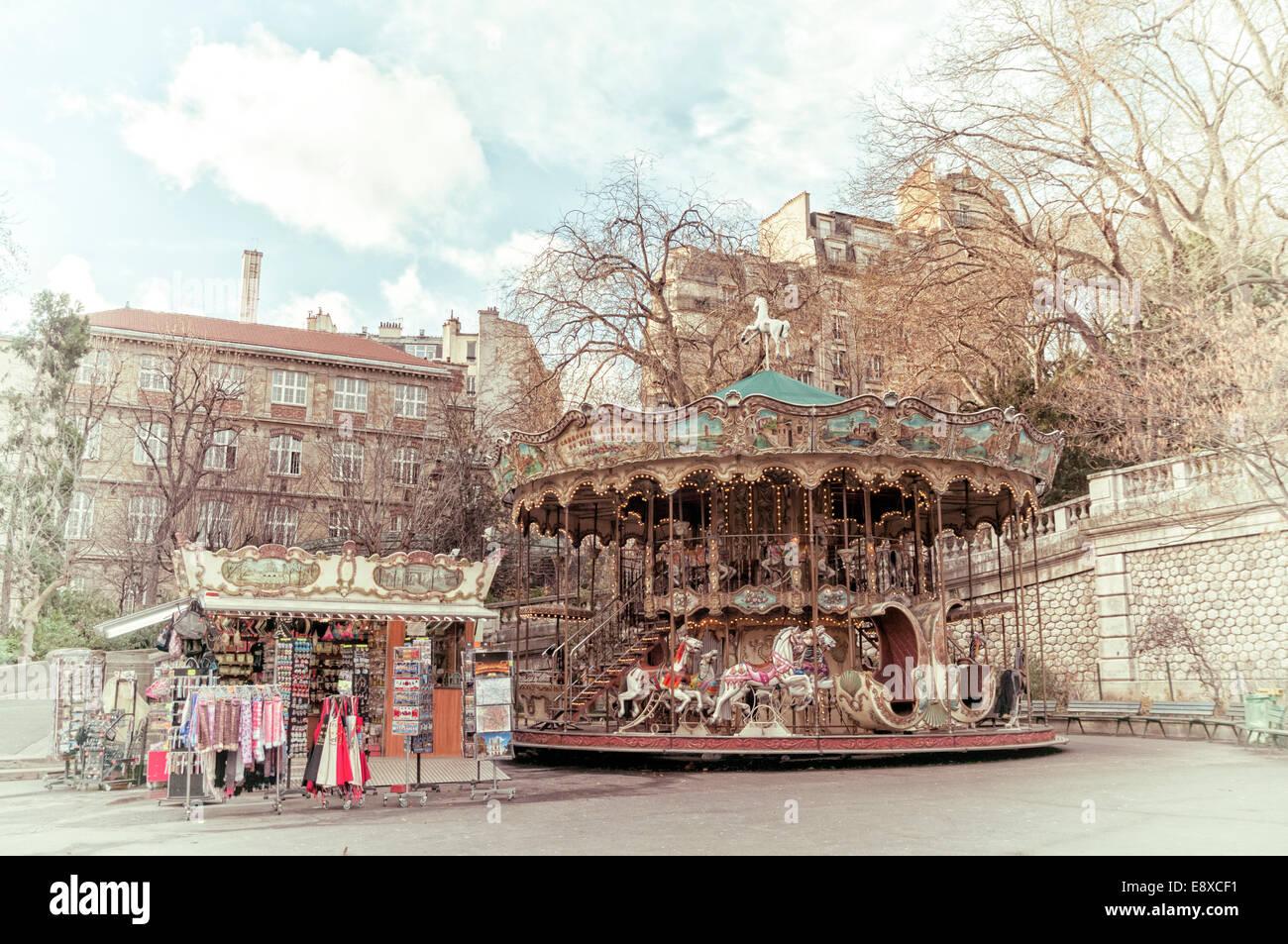 Antica giostra a Parigi Immagini Stock