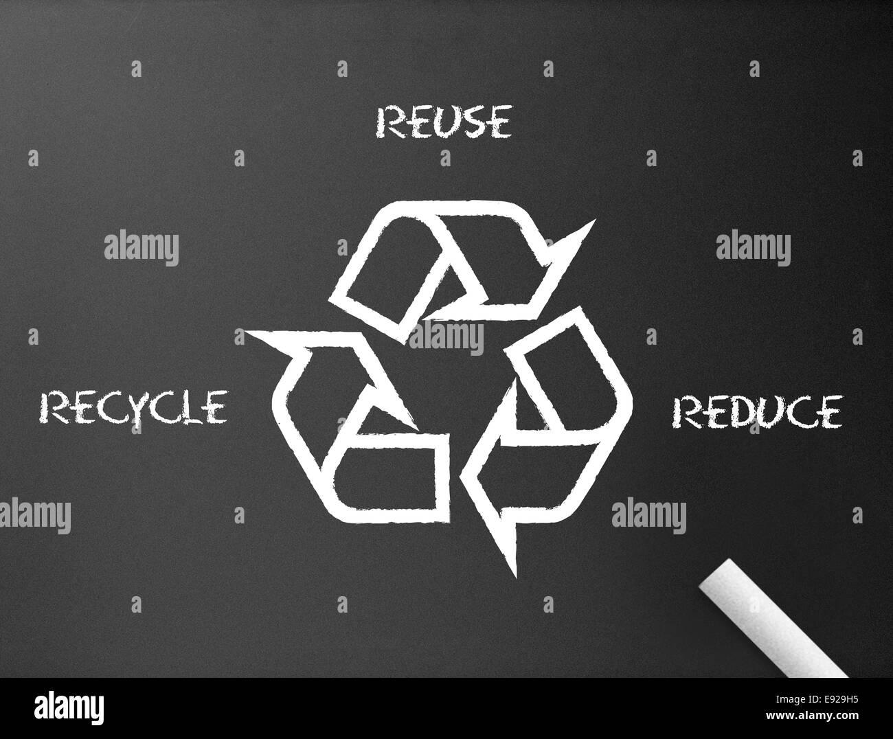 Lavagna - Riciclo, ridurre, riutilizzare Immagini Stock