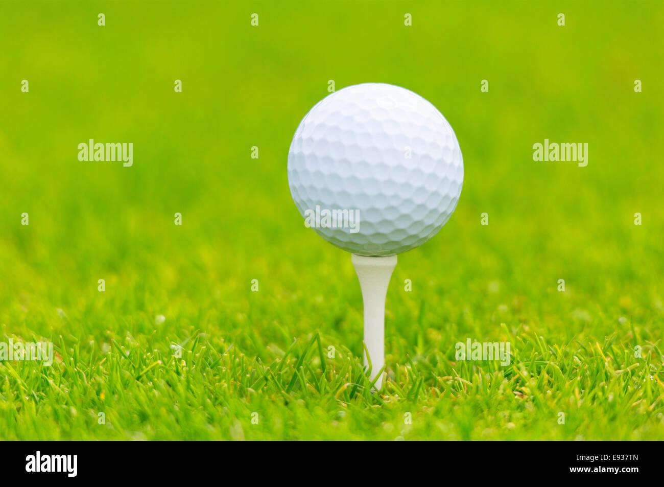 Palla da golf sul raccordo a T Immagini Stock