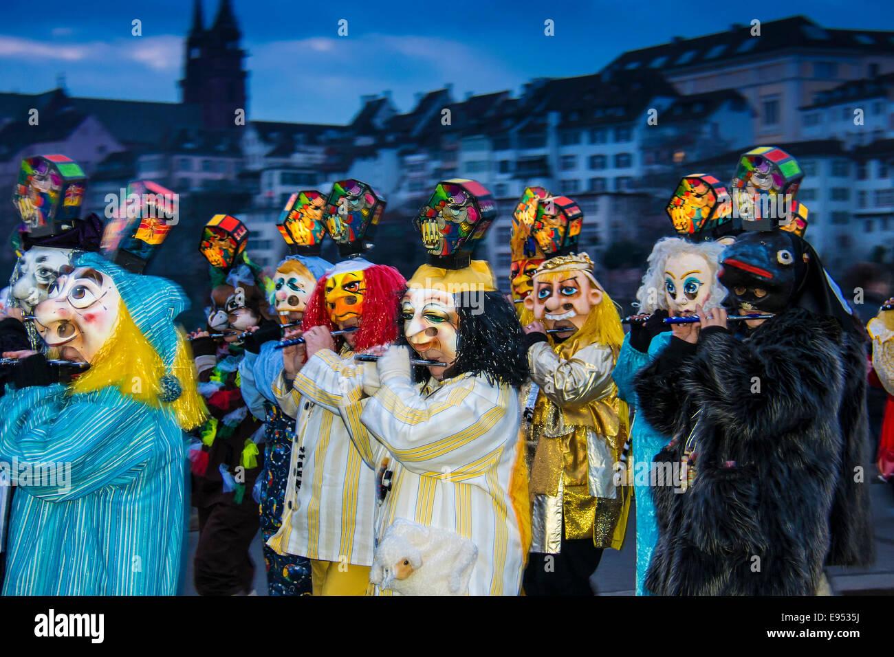 Morgenstraich sfilata di Carnevale di Basilea, in Svizzera Immagini Stock