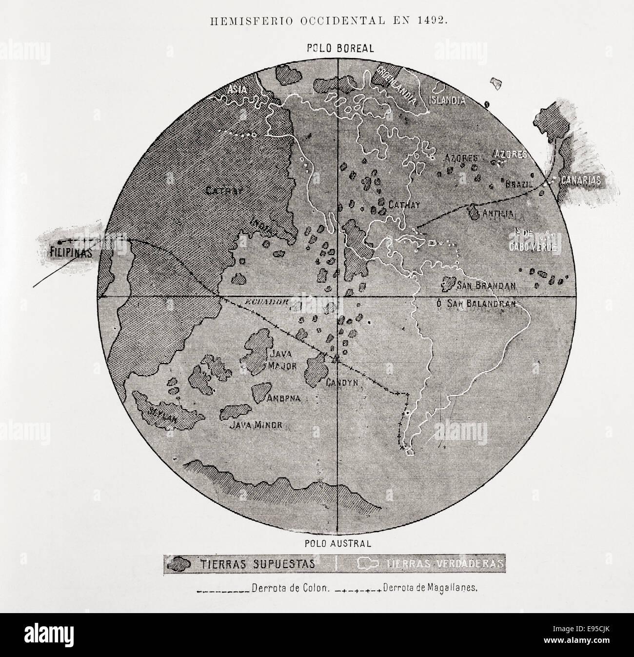 Una mappa dell emisfero occidentale in 1492. Immagini Stock