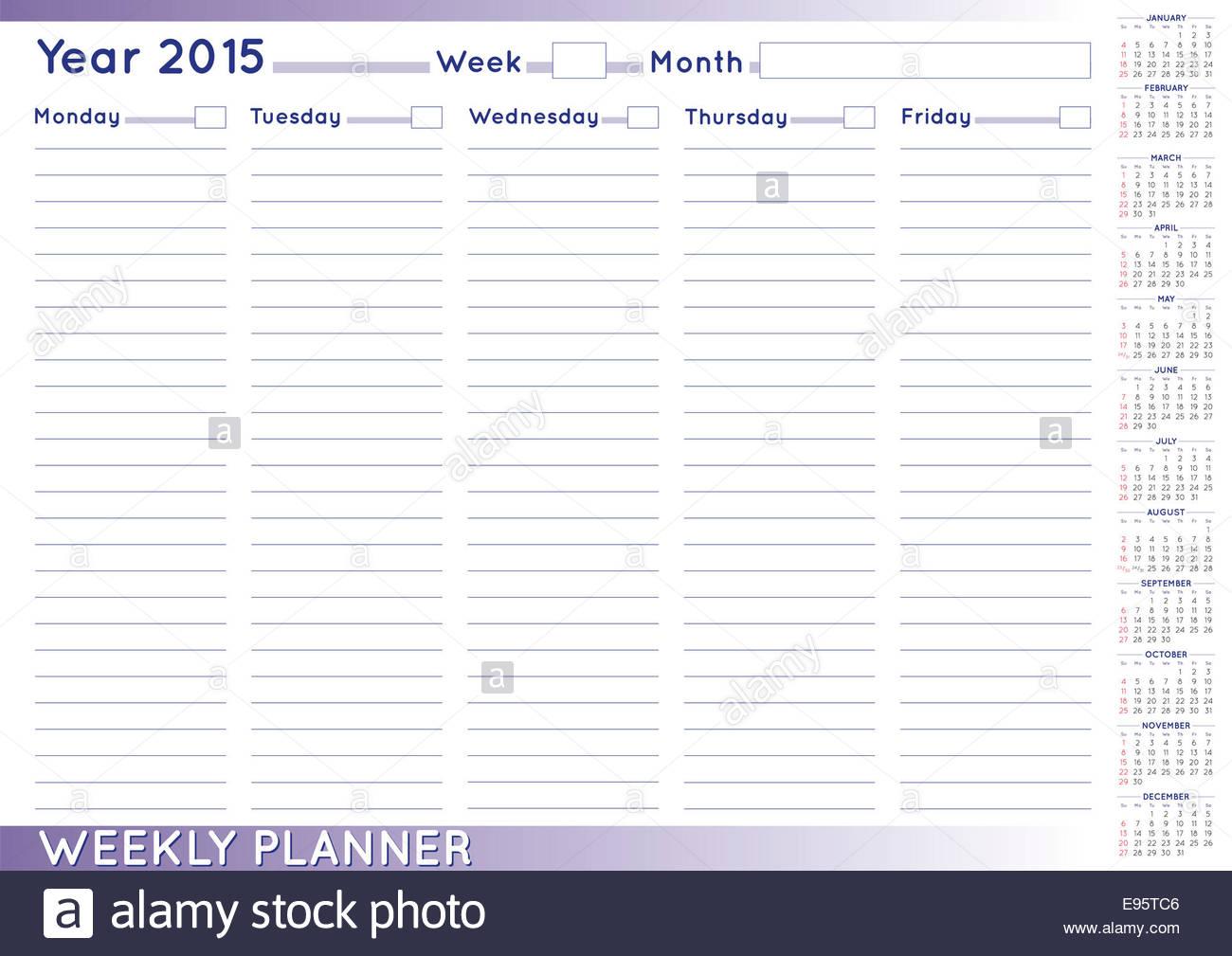 Calendario Con Numero Settimane.2015 Planner Settimanale O Scheduler Con Un Calendario 2015