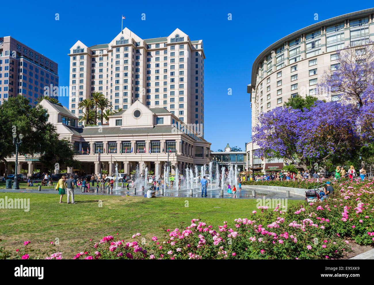 Plaza de Cesar Chavez nel centro cittadino di San Jose, la Contea di Santa Clara, California, Stati Uniti d'America Immagini Stock