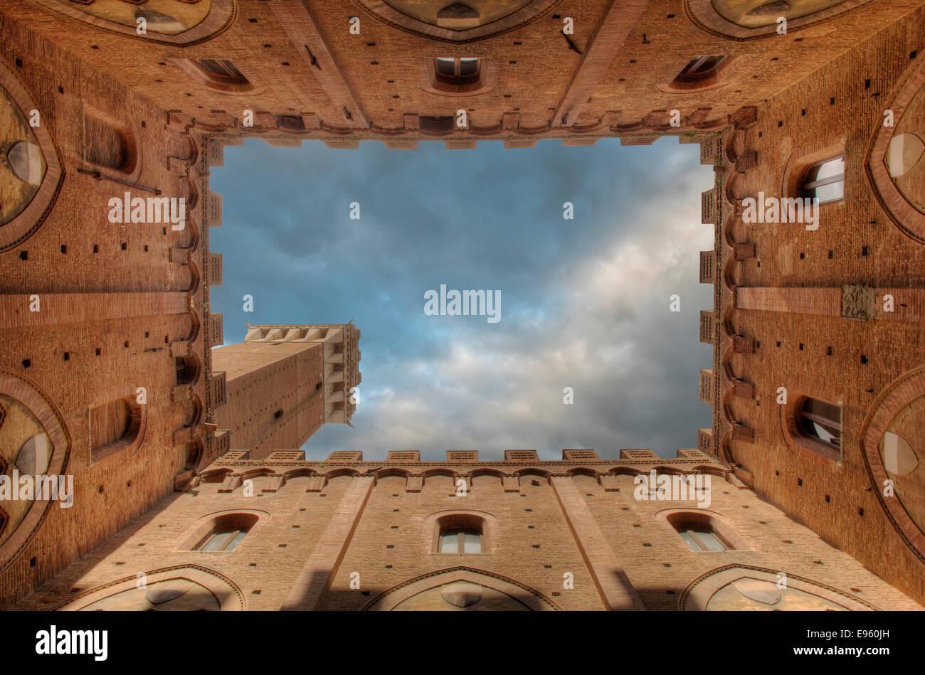 Toscane Sienna De Campo Palazzo publico Immagini Stock
