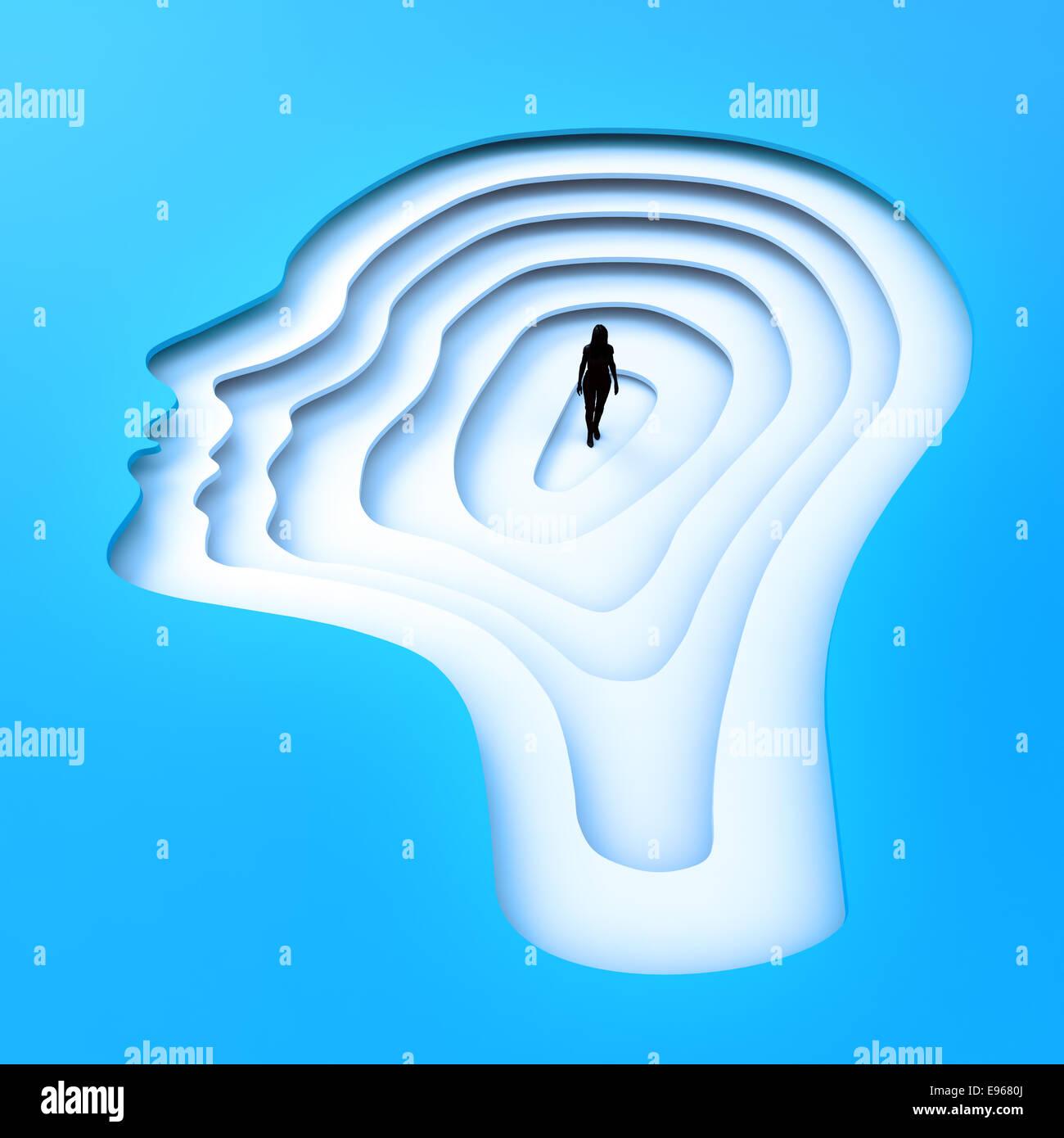 Piccola persona in piedi all'interno di una testa femminile di silhouette. Immagini Stock