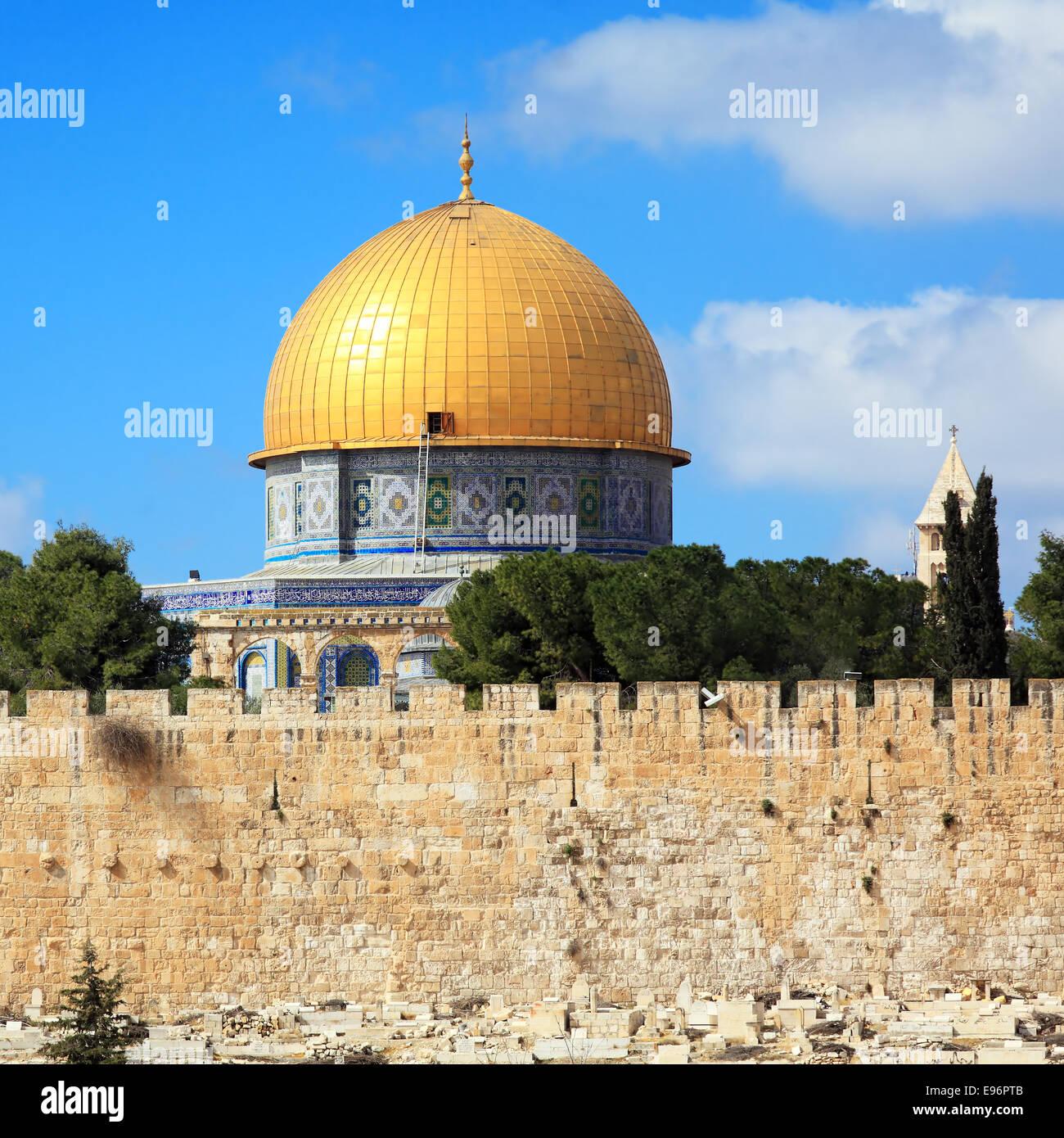 La Moschea di Al-Aqsa sul Monte del Tempio della Città Vecchia di Gerusalemme Immagini Stock
