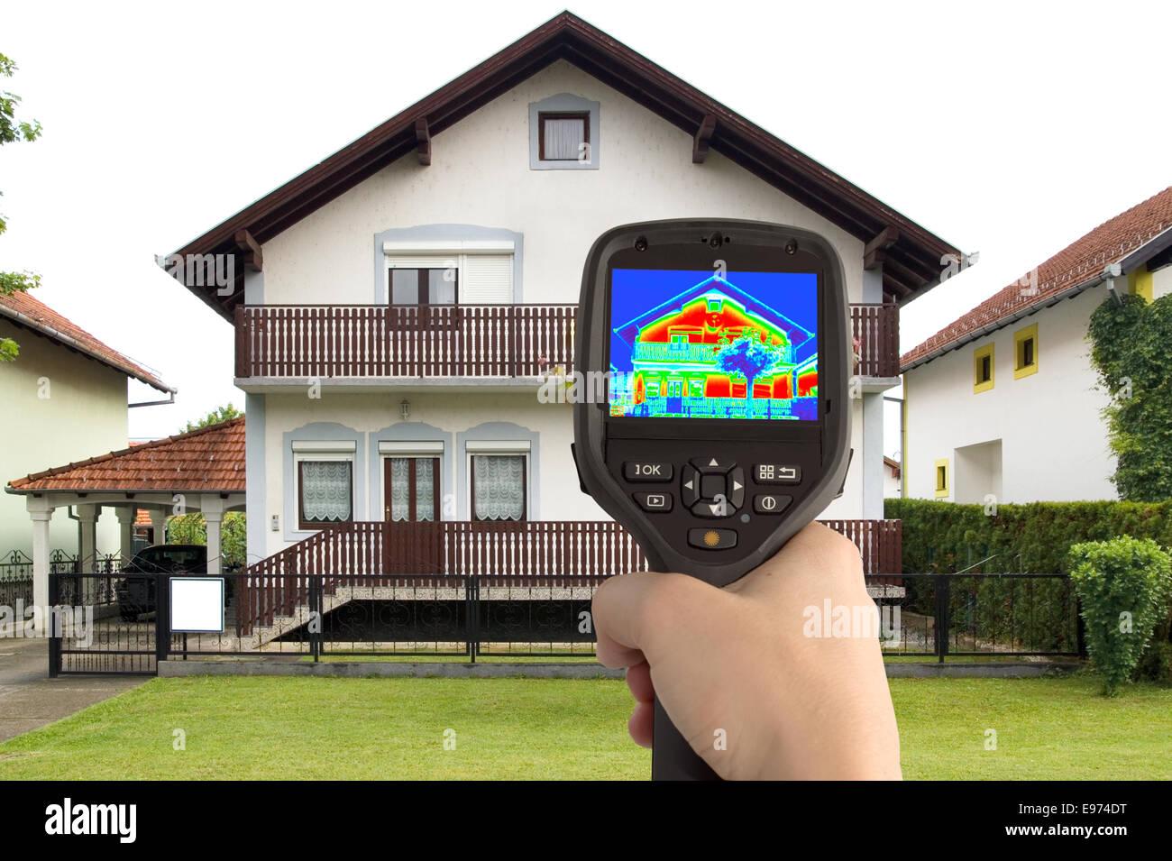 Immagine termica della casa Immagini Stock