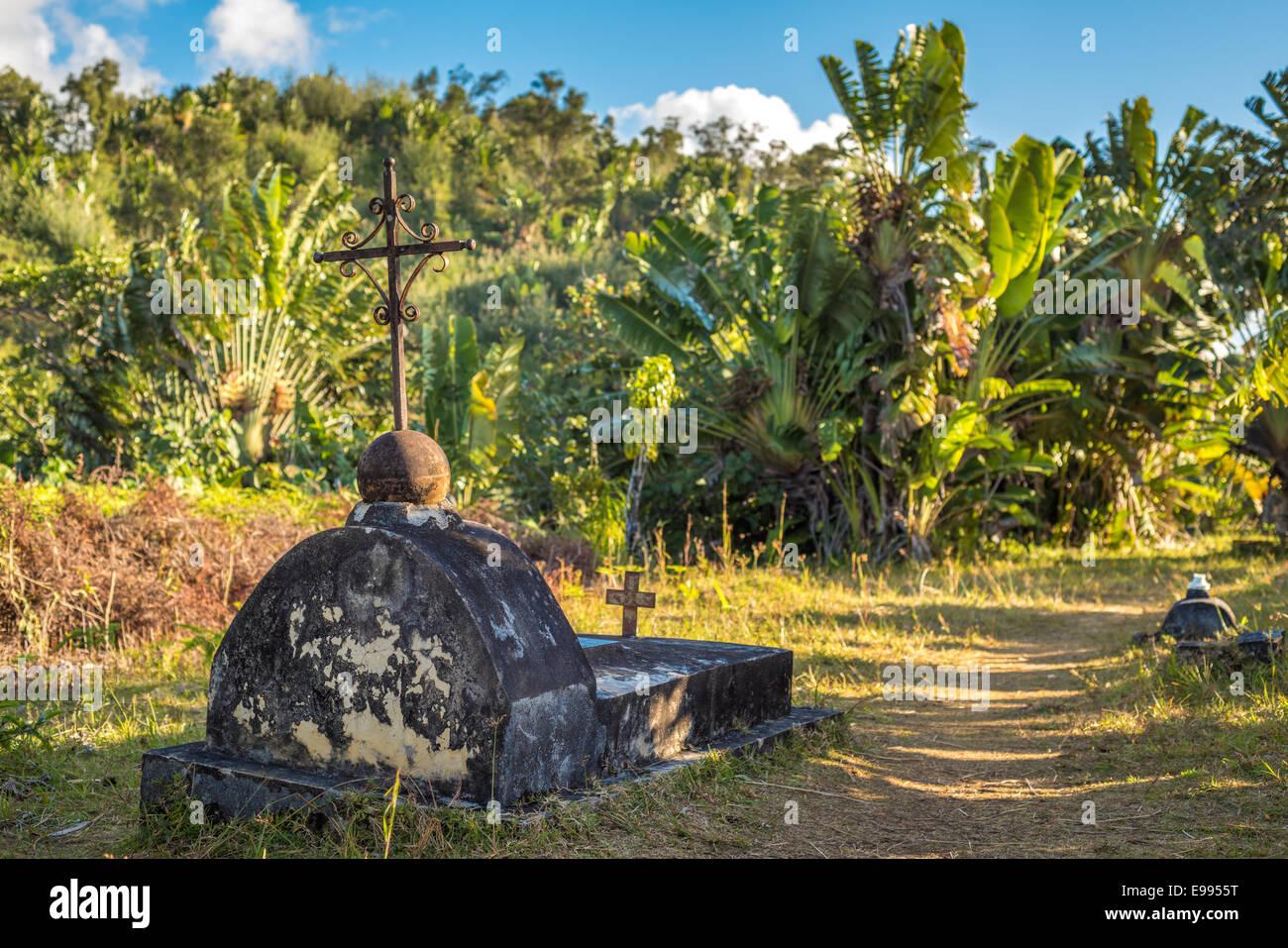 Il cimitero dei Pirati del passato a Santa Maria Island, Madagscar Immagini Stock