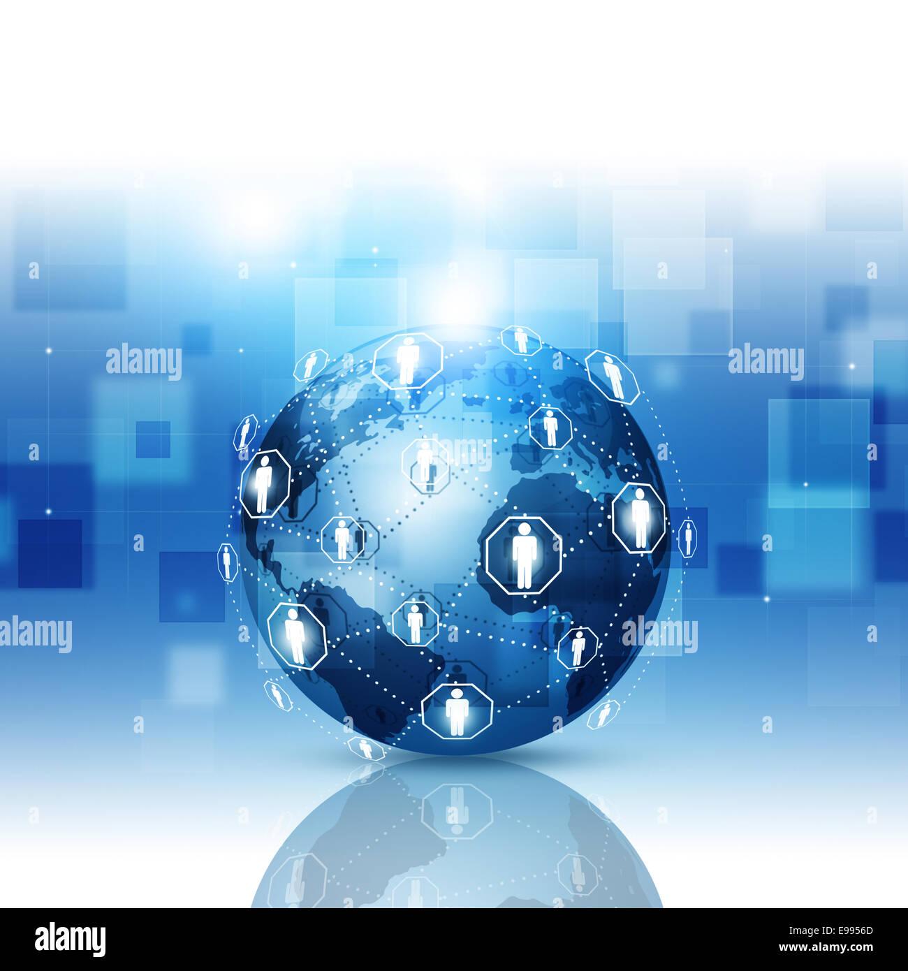 Tecnologia astratto mondo globale di connessione di rete blu sullo sfondo di business Immagini Stock