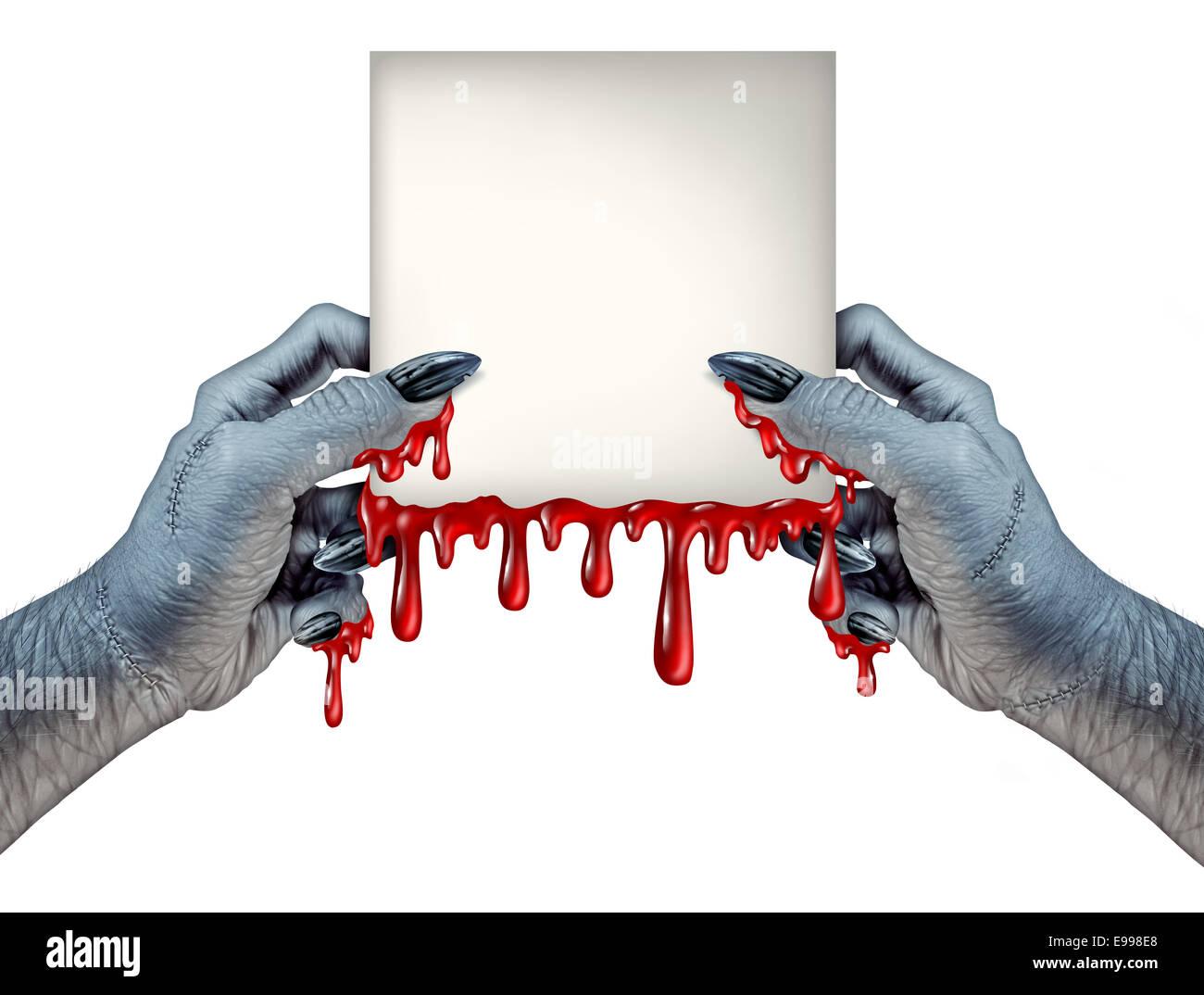 Mani Zombie segno come bloody un mostro tenendo un vuoto di gocciolamento del sangue segno della scheda su un vista Immagini Stock