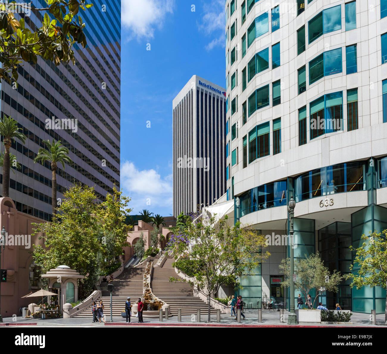 Bunker Hill passi, Bank of America e noi Banca d'ingresso alla Torre nel centro di Los Angeles, California, Immagini Stock