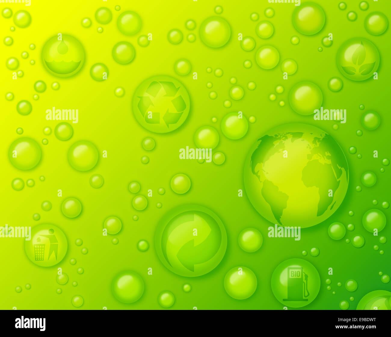 Gocce Di Acqua Su Sfondo Verde Concetto Di Rispettosa Dellambiente