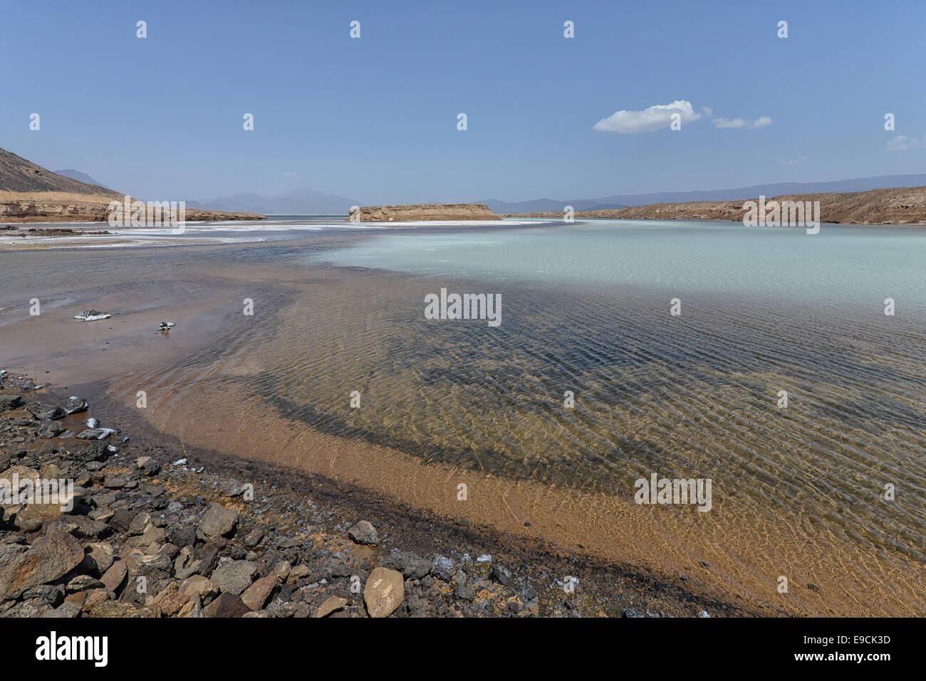 Il lago Assal, Gibuti Immagini Stock