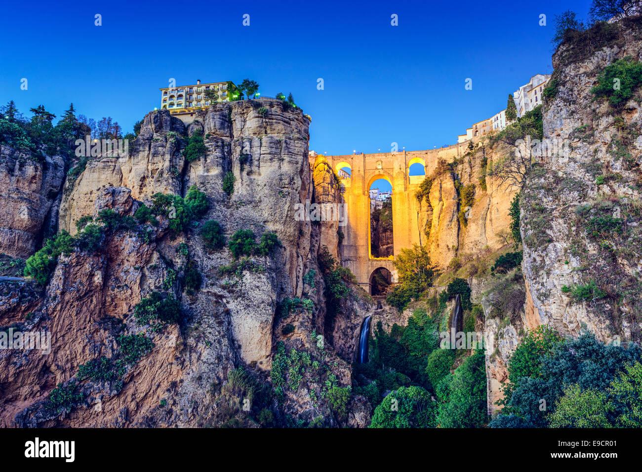 Ronda, Spagna a Puente Nuevo Bridge. Immagini Stock