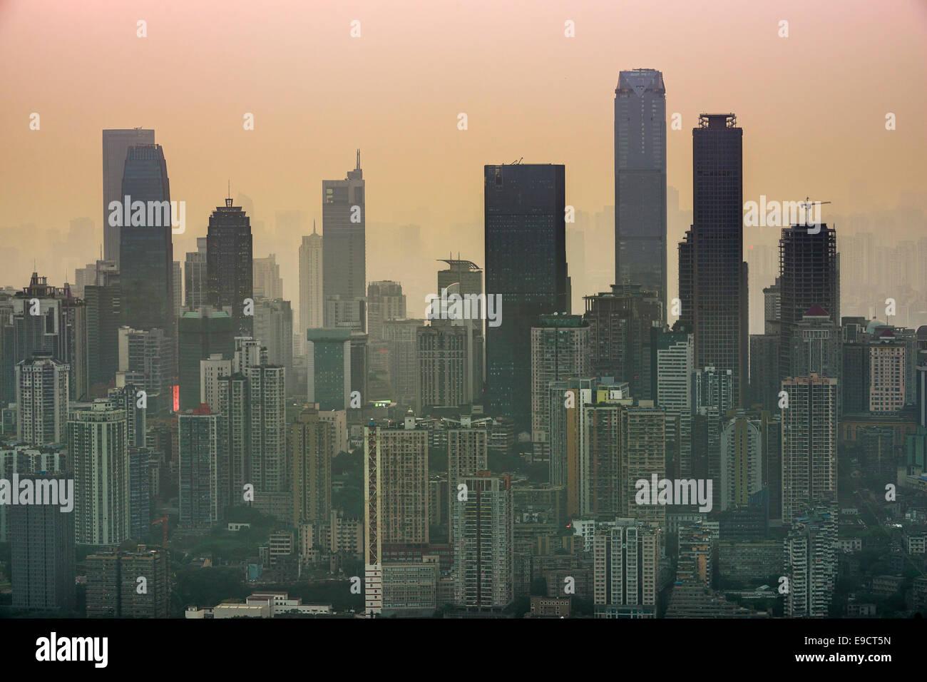Chongqing Cina lo skyline della citta'. Immagini Stock