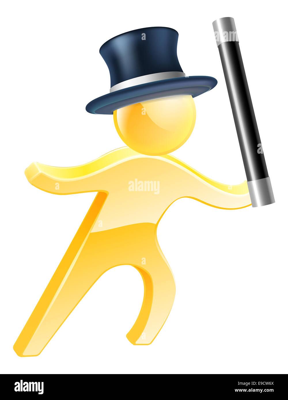 Illustrazione di un mago che indossa un cappello a cilindro e agitando una  bacchetta b19aba3aefba