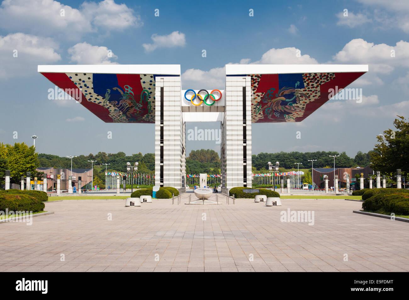 La pace nel mondo Gate Seoul Olympic Park centrato Immagini Stock