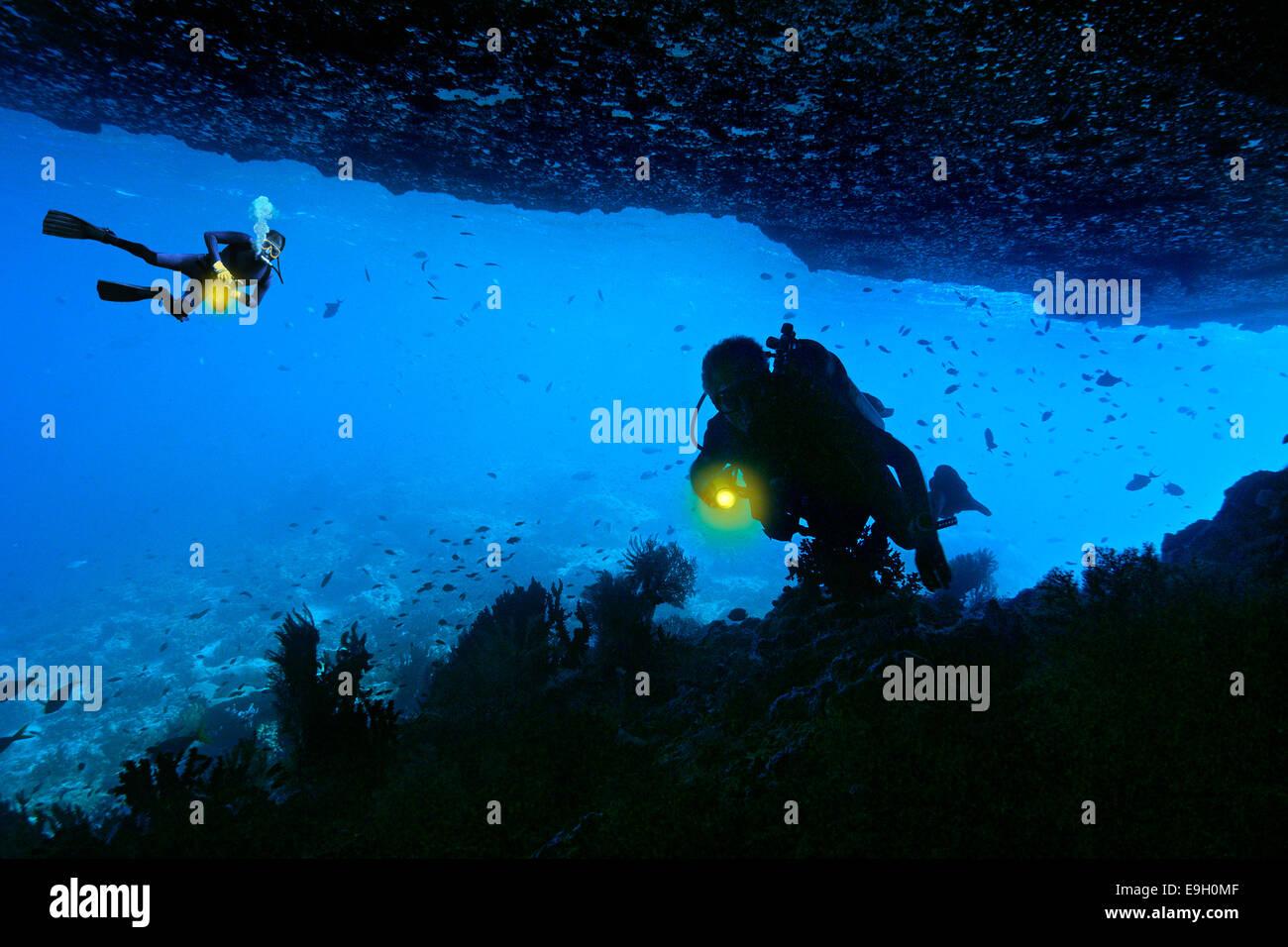 I subacquei in una grotta sottomarina, immagine composita, Raja Ampat, Papua occidentale, in Indonesia Immagini Stock