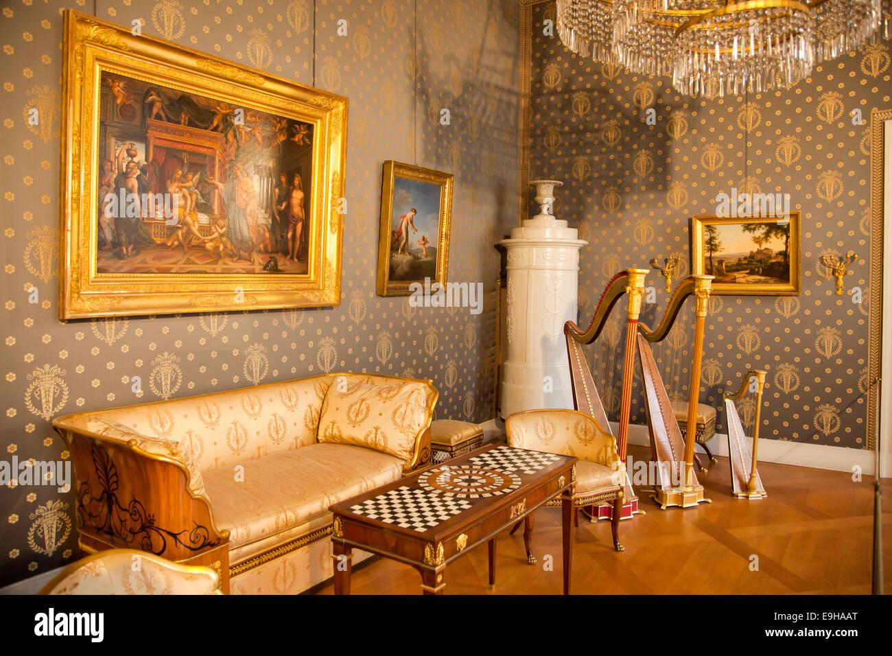 Sala musica con strumenti periodo presso la residenza di Monaco di Baviera, Monaco di Baviera, Baviera, Baviera, Immagini Stock