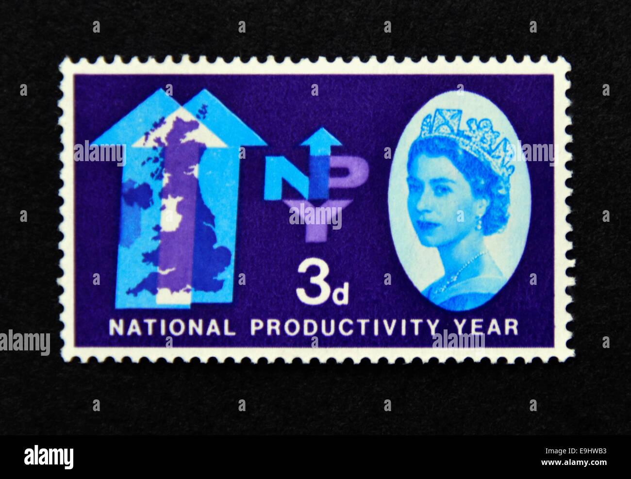 Francobollo. La Gran Bretagna. La regina Elisabetta II. La produttività nazionale Anno (NPY). 1962. Foto Stock