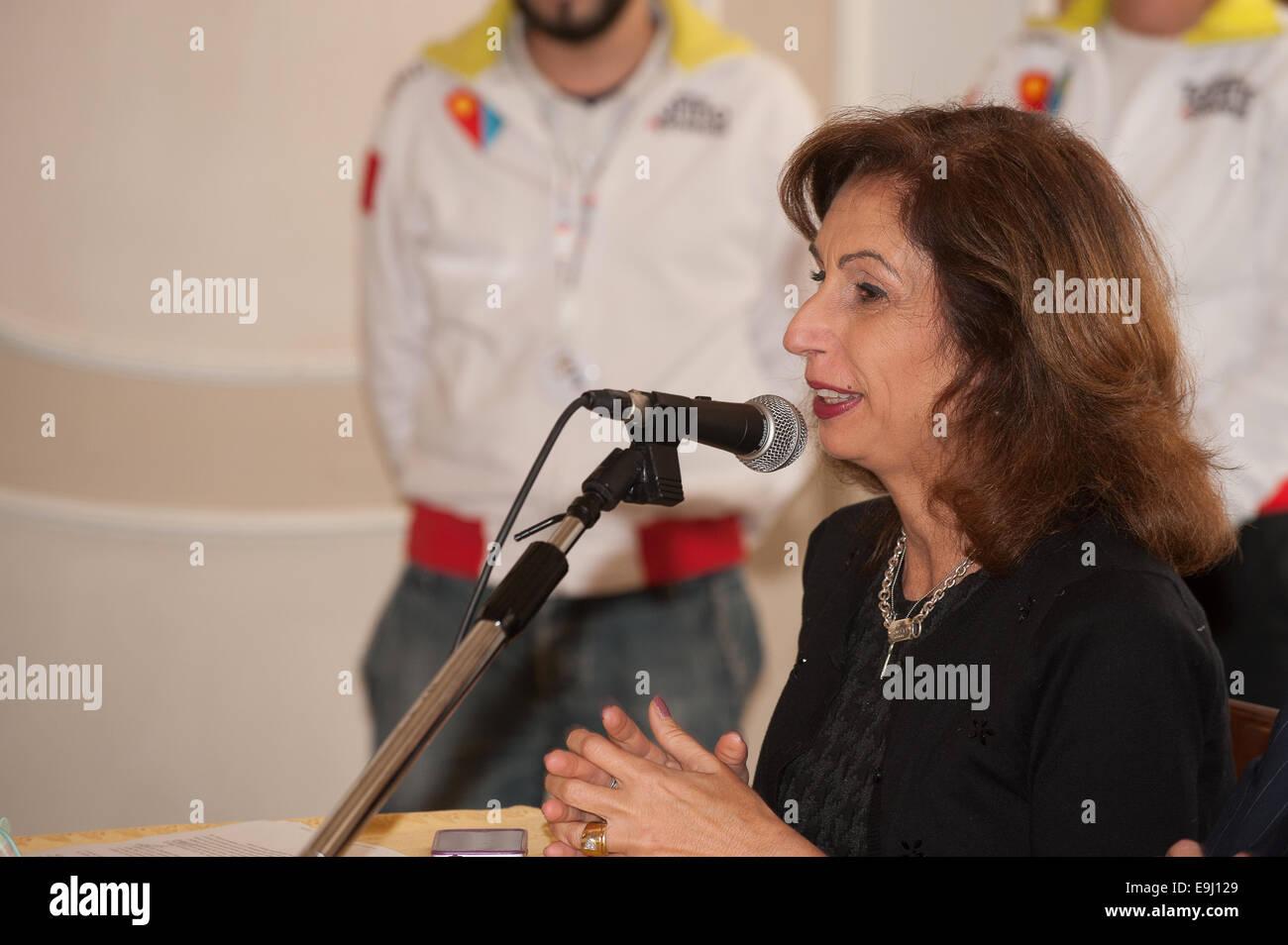 """Torino, Italia. 28 ottobre, 2014. Presentazione della mostra """"Leonardo e i tesori del re"""", per l'inaugurazione, Immagini Stock"""
