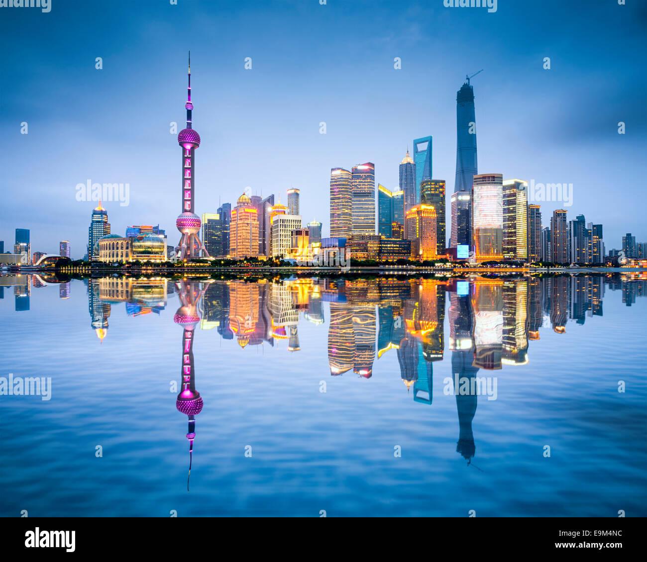 Shanghai, Cina skyline della città del Distretto di Pudong. Immagini Stock
