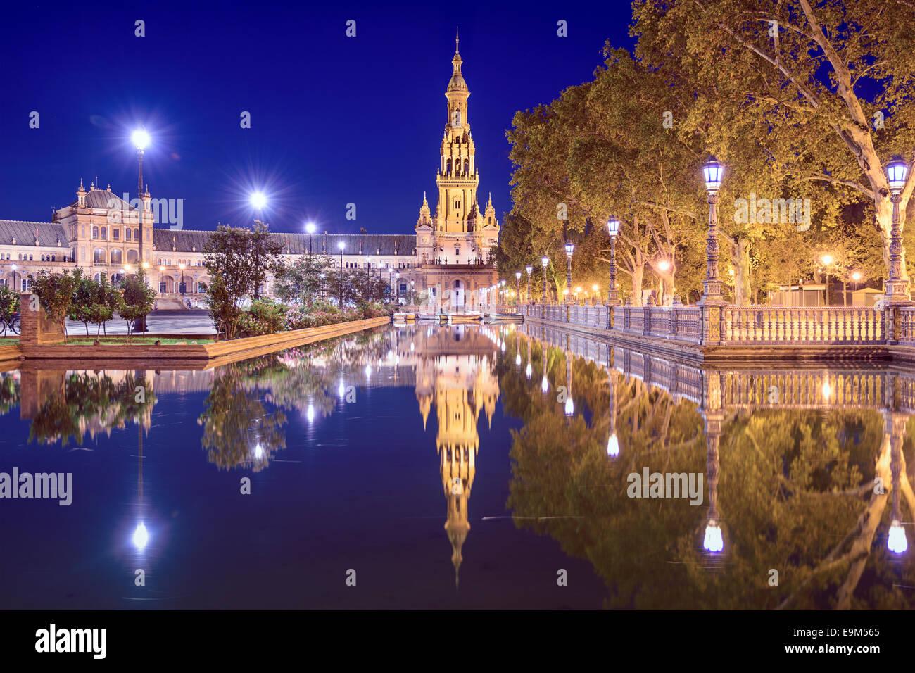 Siviglia, Spagna a piazza (Plaza de Espana). Immagini Stock