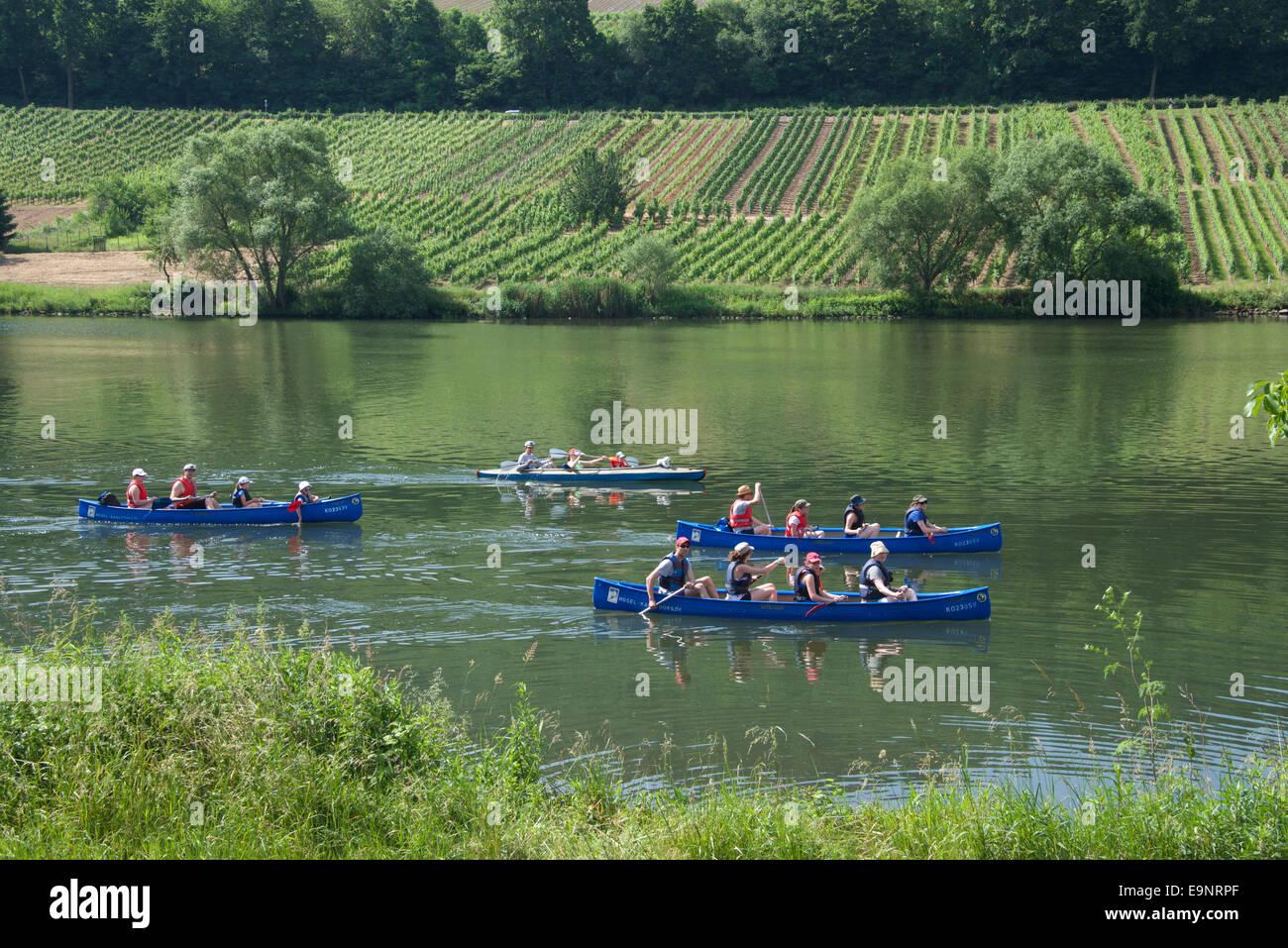 Pagaiando canoa fiume Moselle vicino a Zell Valle della Mosella in Germania Immagini Stock