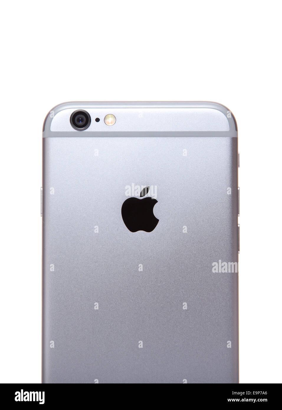 Apple Iphone 6 In Vista Posteriore Tutto Su Sfondo Bianco Foto