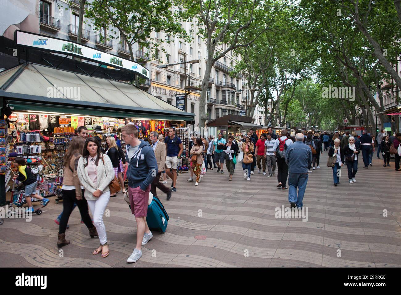 La Rambla di Barcellona, in Catalogna, Spagna. Immagini Stock