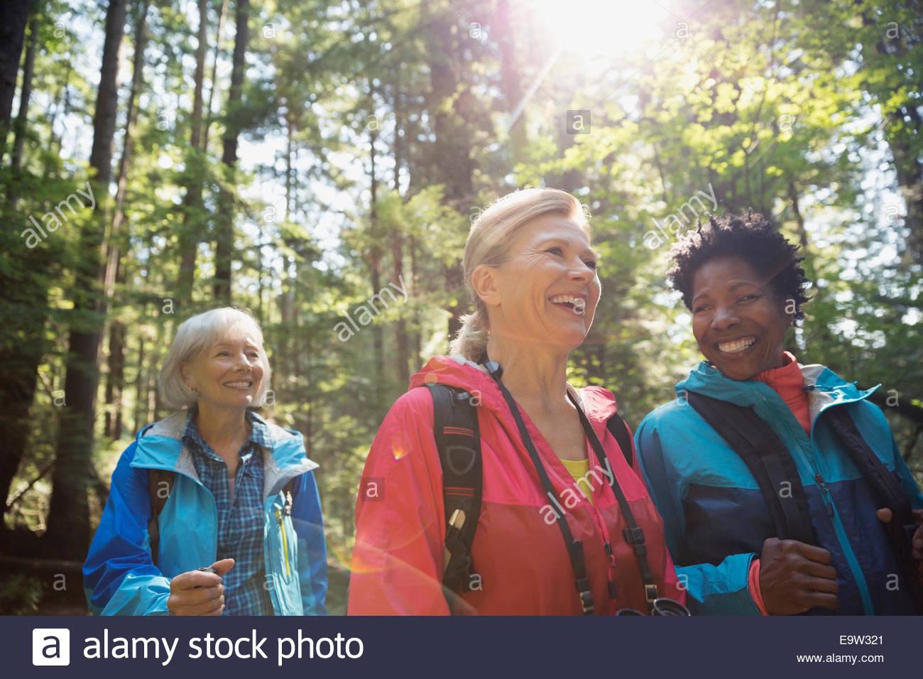 Donna sorridente escursioni nei boschi di sole Immagini Stock