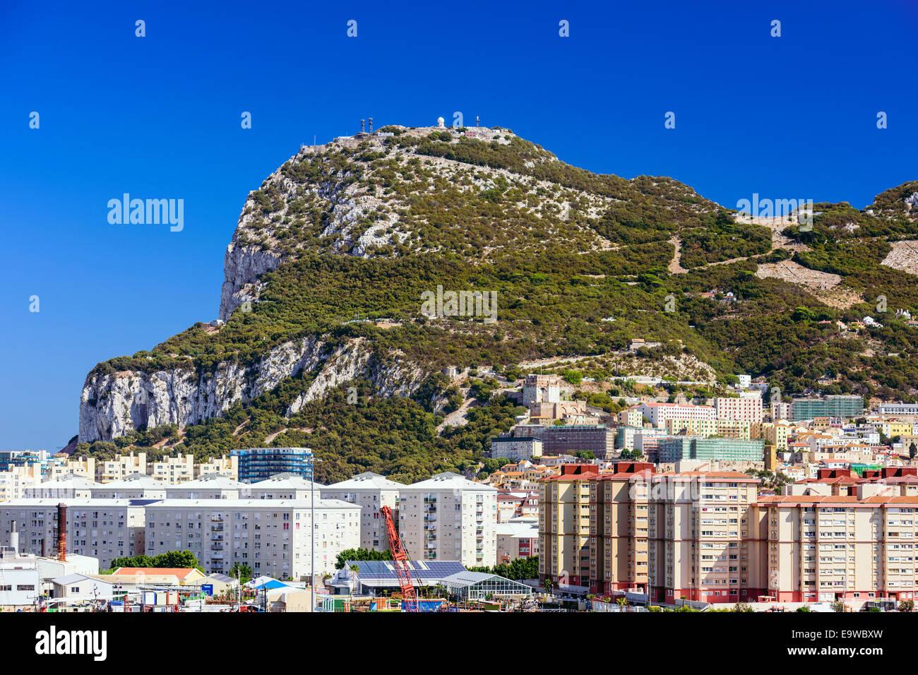 La British Overseas territorio della Rocca di Gibilterra. Immagini Stock