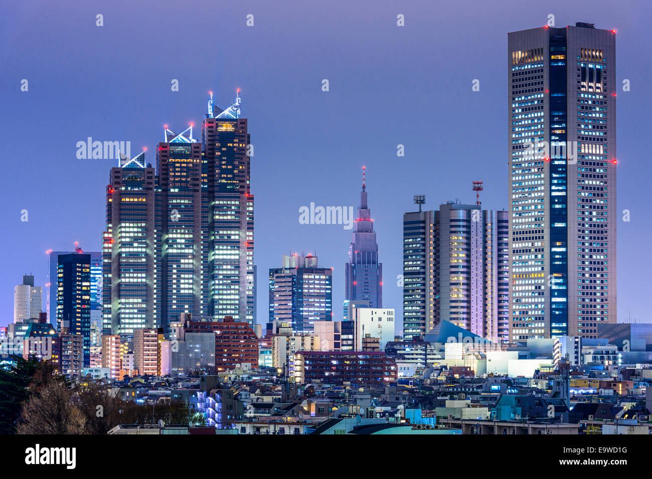 Tokyo, Giappone skyline della città ad ovest del distretto di Shinjuku grattacielo distretto. Immagini Stock