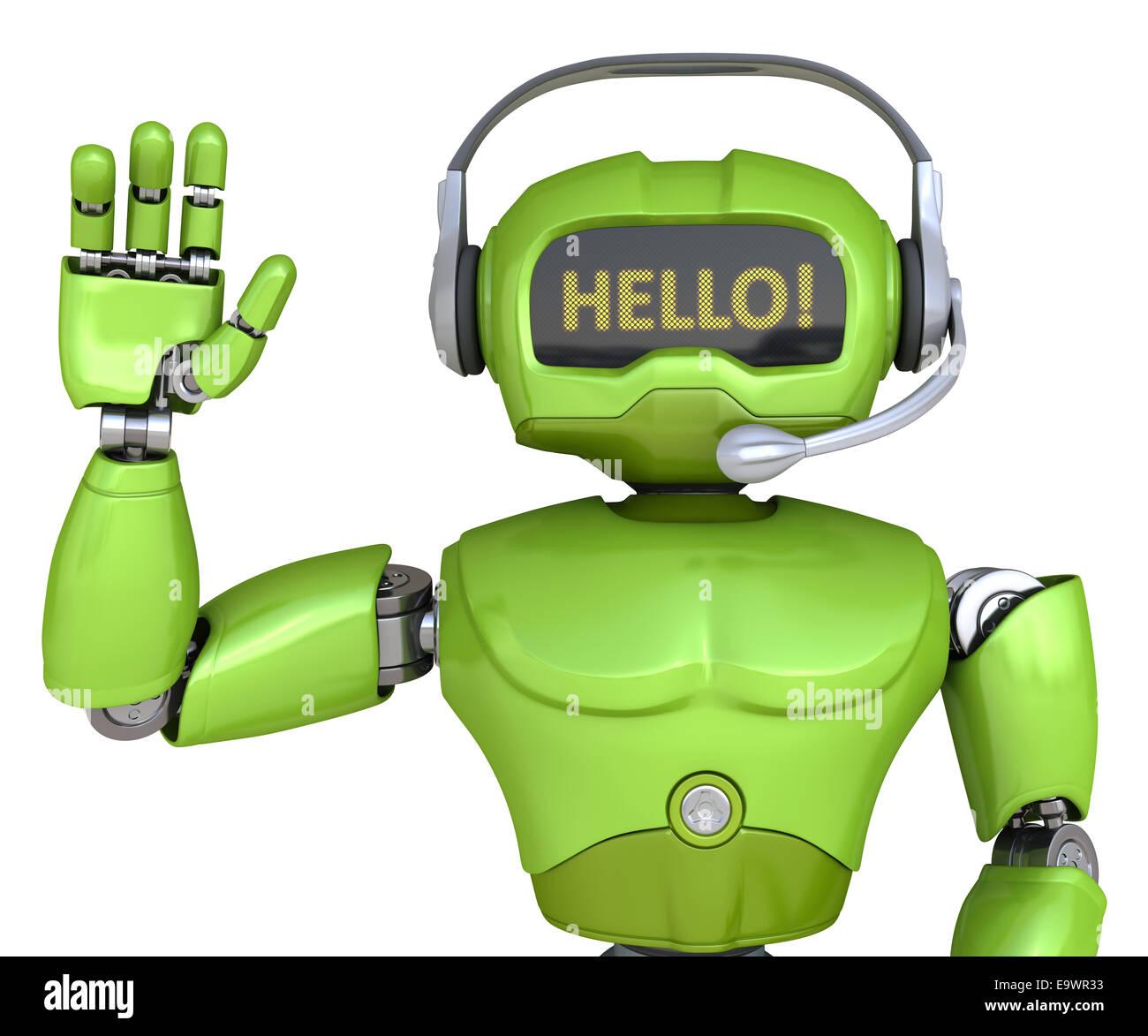 Carino il robot con le cuffie Immagini Stock