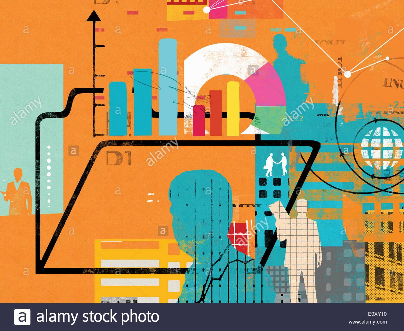 Imprenditori, Globe, i dati finanziari e la cartella Immagini Stock
