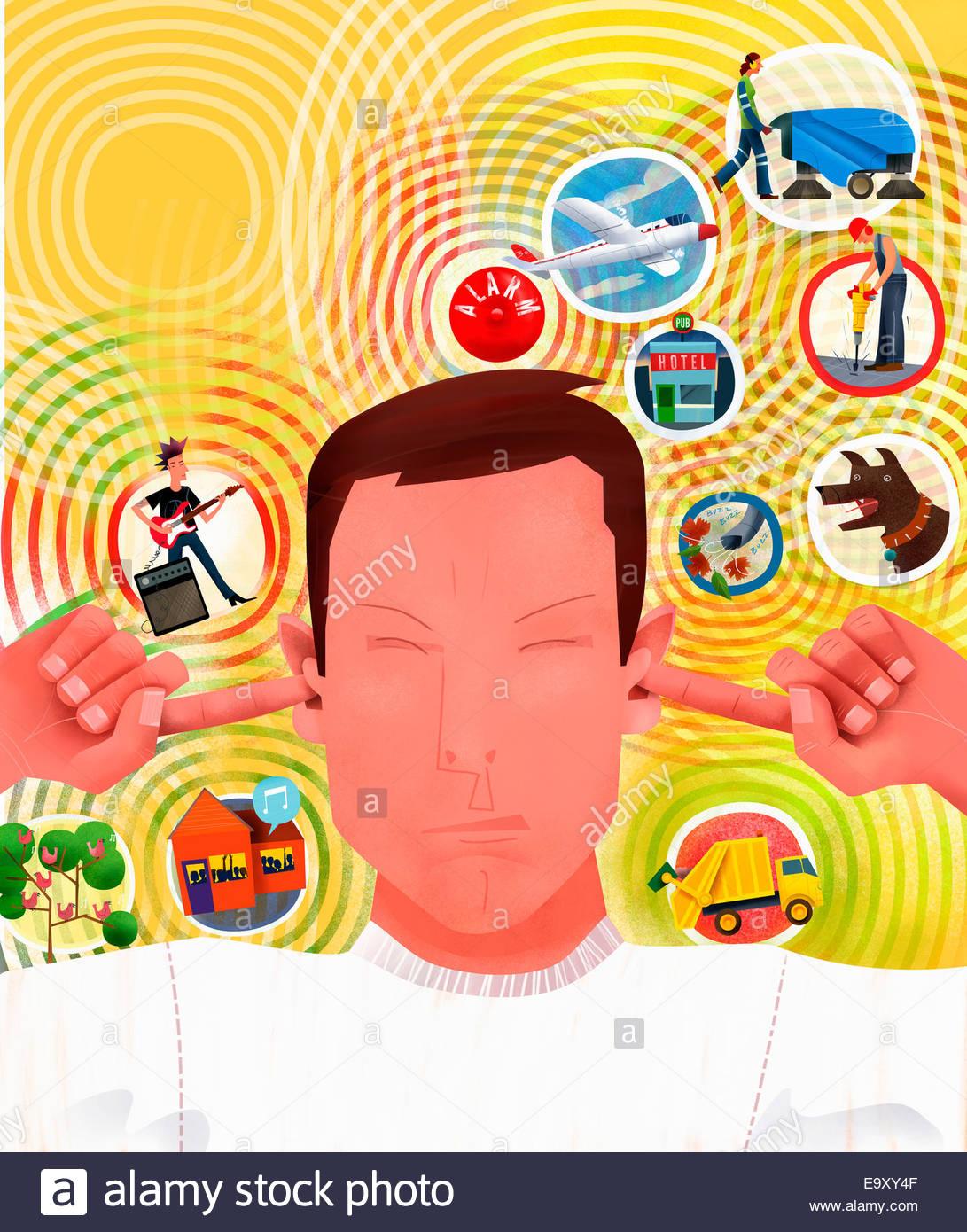 Simboli di rumore circostante uomo irritata collegando le orecchie Immagini Stock