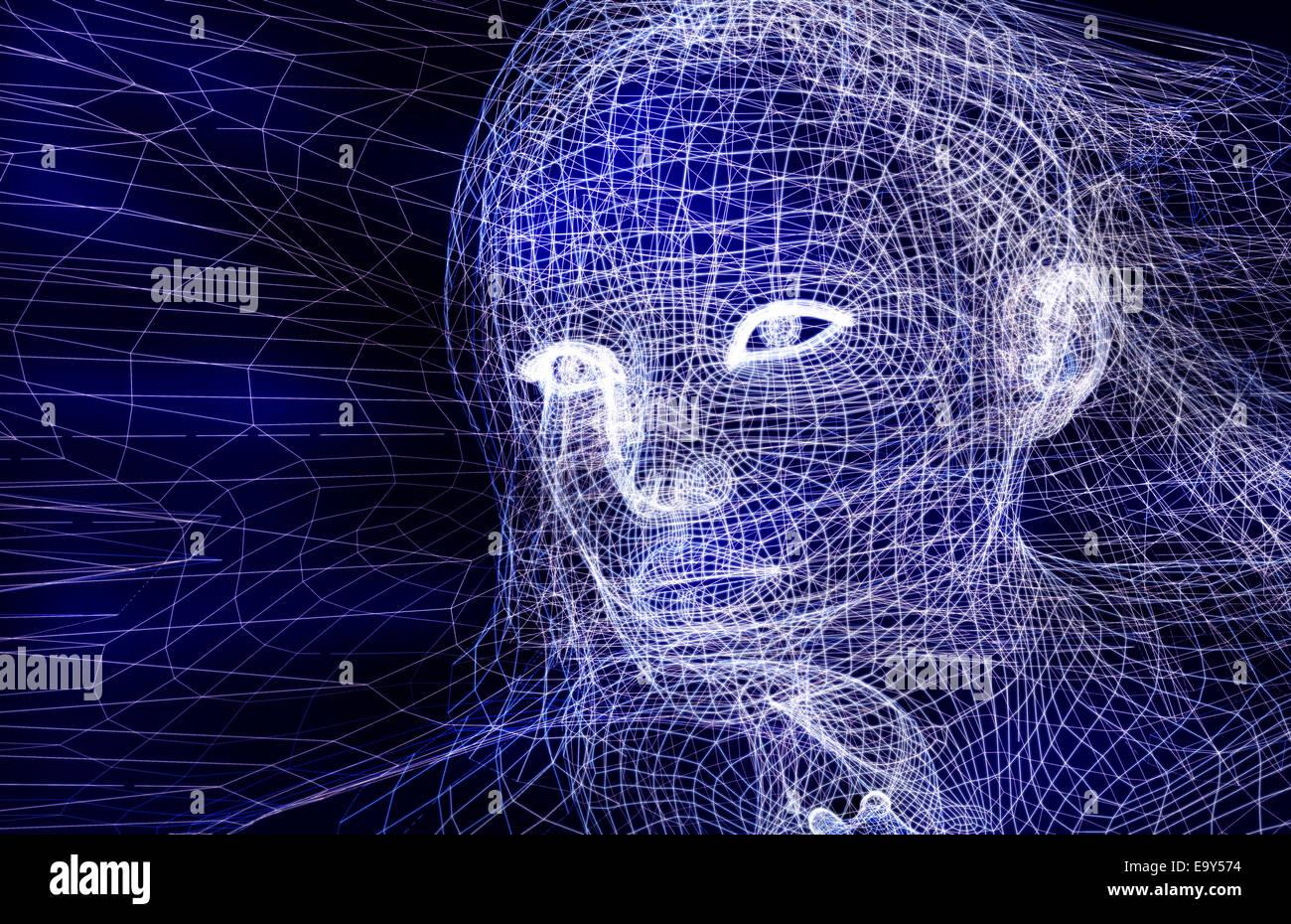 Donna digitale faccia wireframe conceptual 3D immagine su sfondo blu scuro Immagini Stock